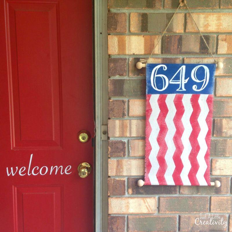 Patriotic banner door