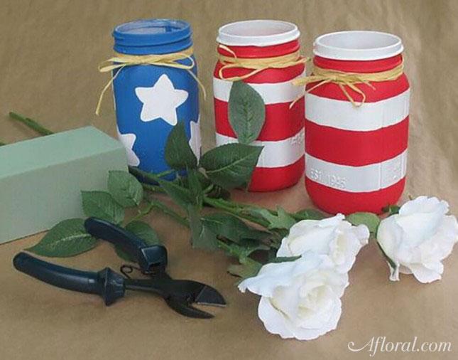 Patriotic mason jars vases