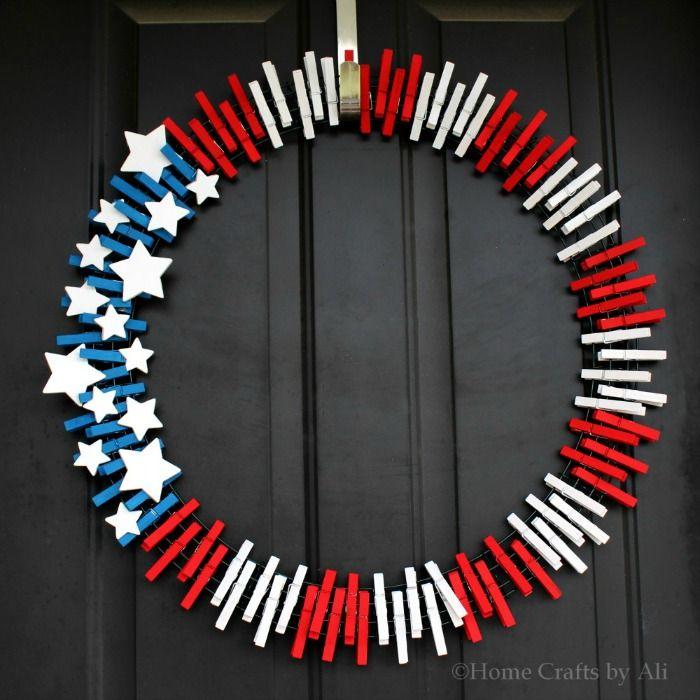 Patriotic wreath on front door