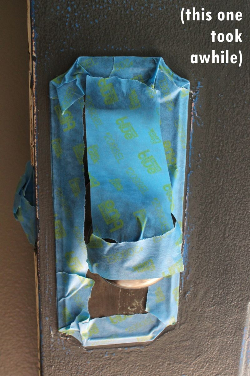 Remove or put tape on door knob