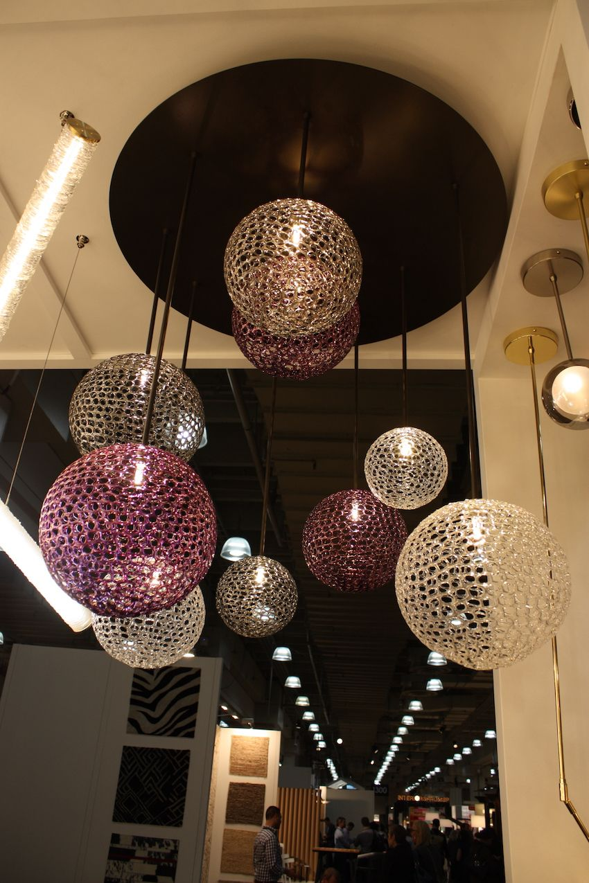 The fixtures can be composed of globes of multiple colors.