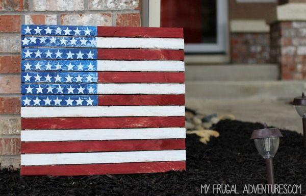 Simple reclaimed wood american flag