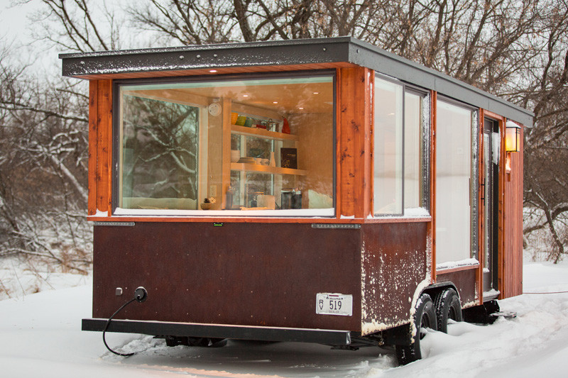 Small tiny home on wheels back