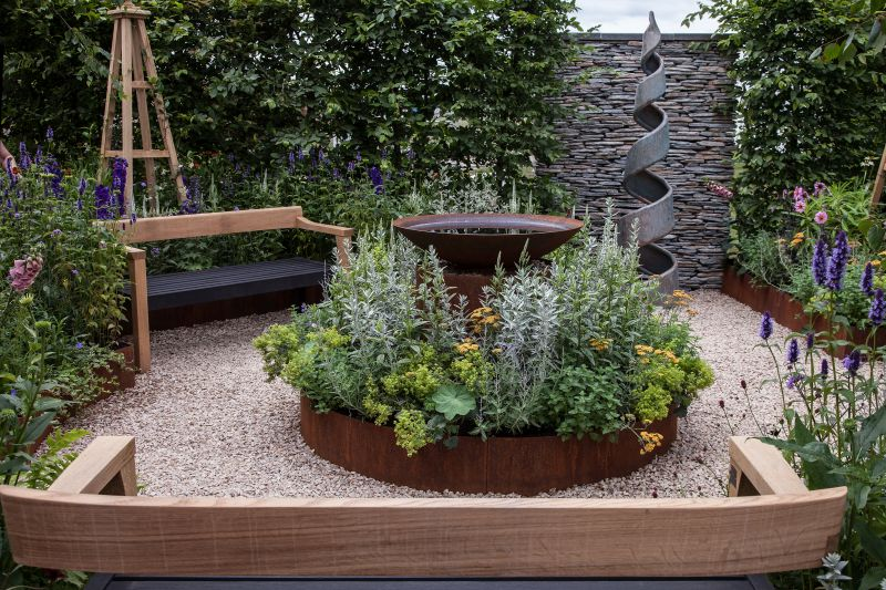 Backyard accessories with metalic planters