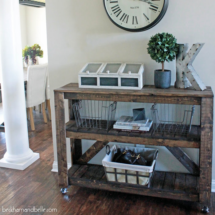DIY wood foyer consol