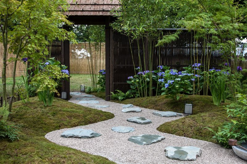 Gravel pathway with large stones