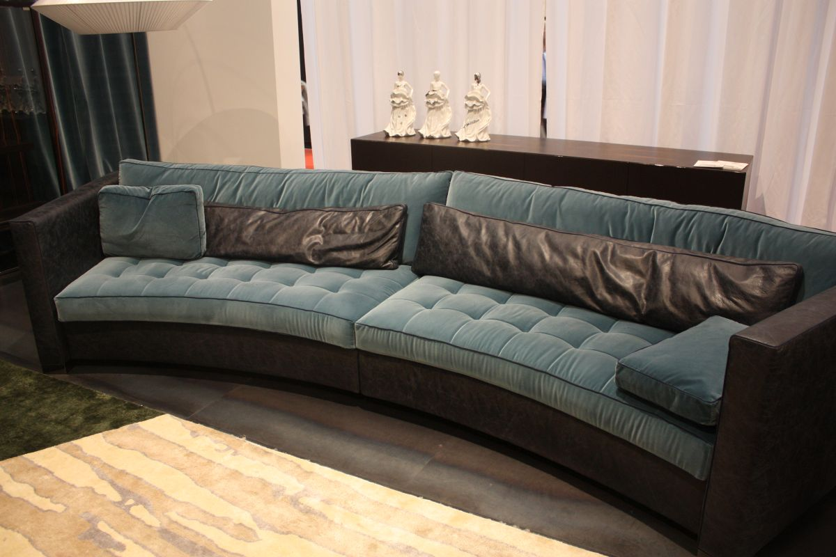 Leather and tufted fabric for sofa