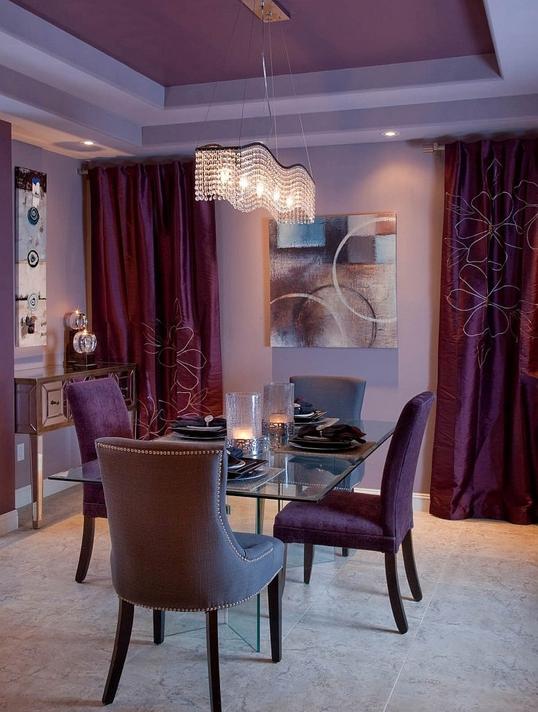 Levender drapes and dining chairs