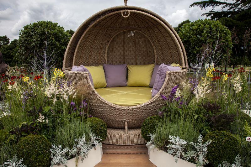 Rattan sphere for outdoor living