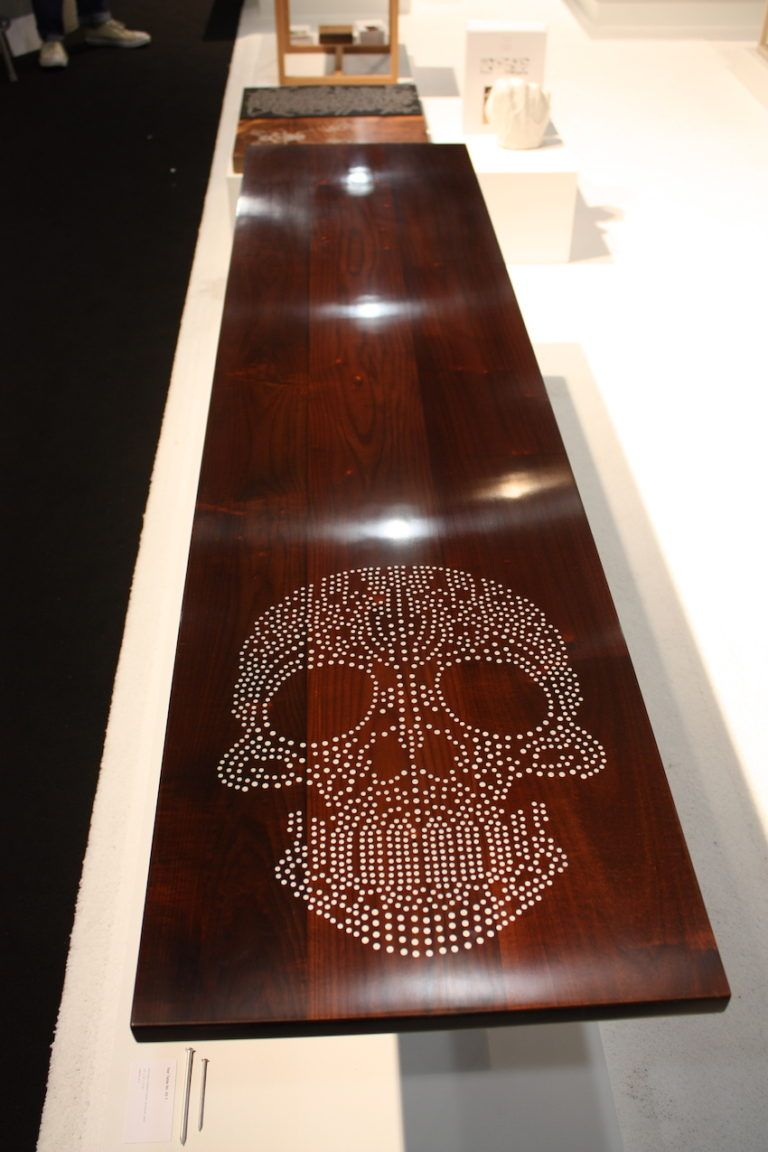 Trendy skull design adorns a gorgeous bench by Sandback