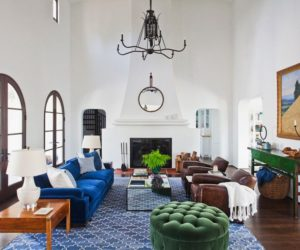 Spanish living room with high ceilings