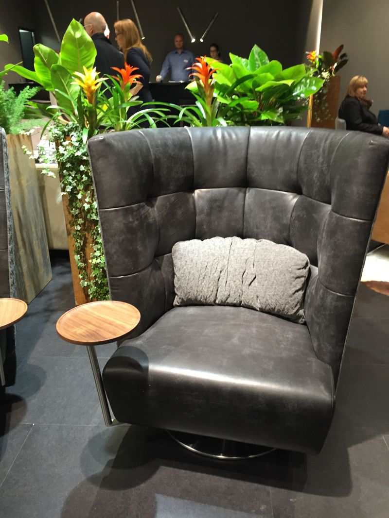 Big leather armchair with tray table
