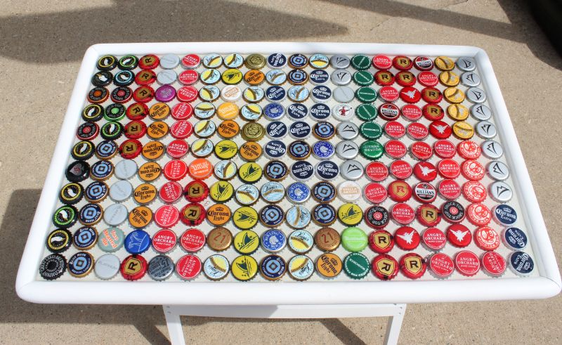 Bottle caps table top art