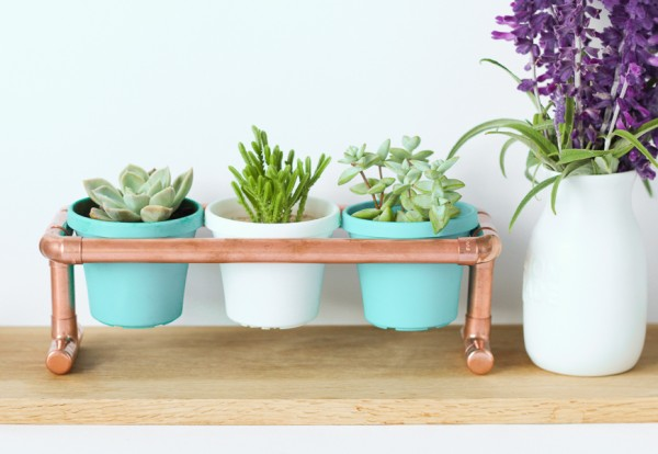 DIY mini pipe plant stand