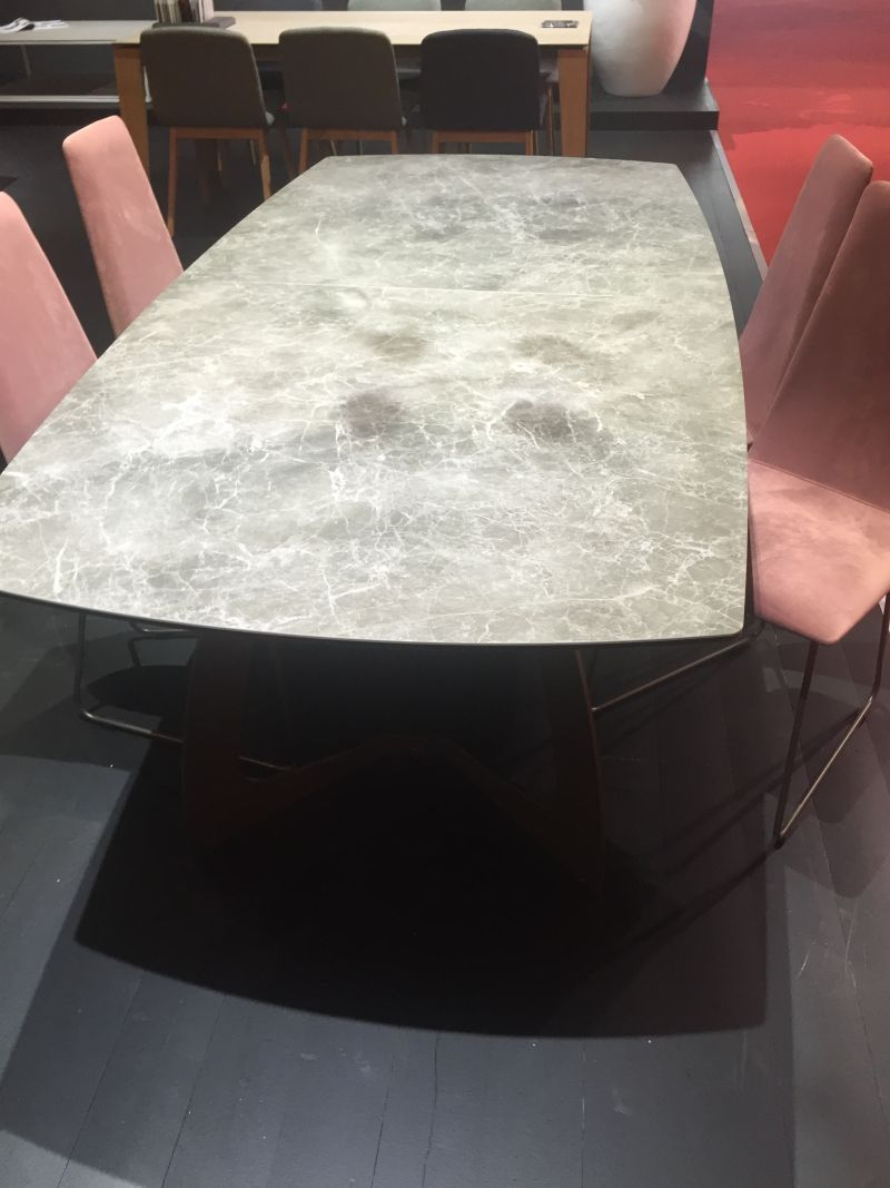 Grey concrete dining table top