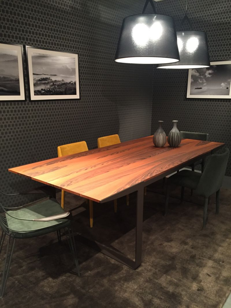 Industrial metalic base dining table