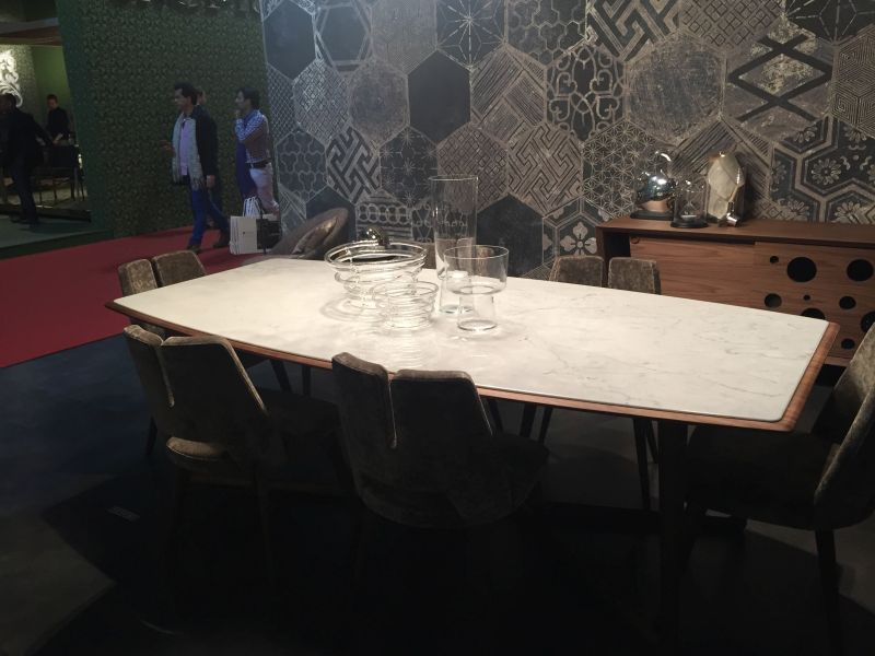 Irregular dining table with marble on top