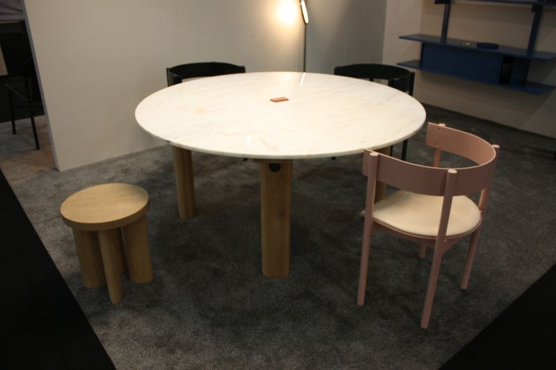 Marble on top dining table with rectangular legs from wood