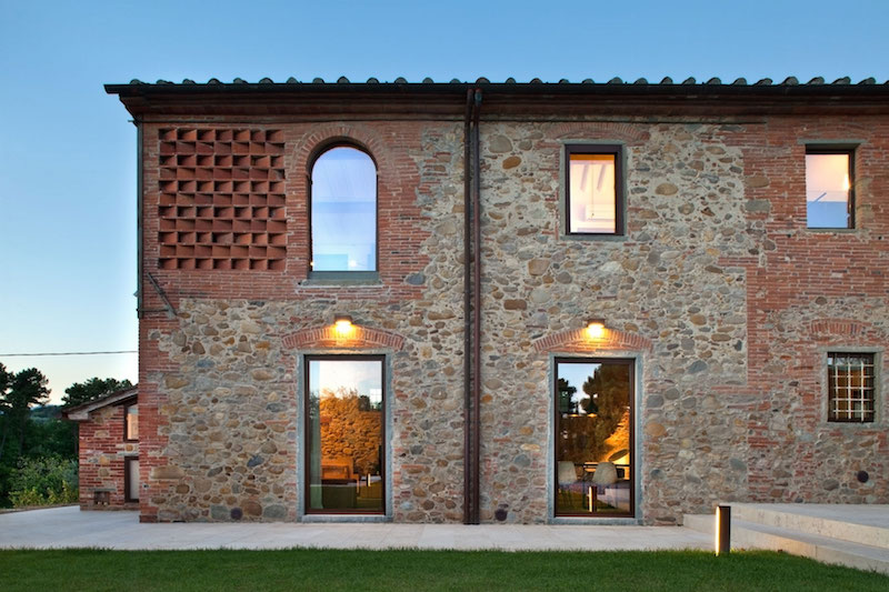 Renovated country house in Lucca arched windows