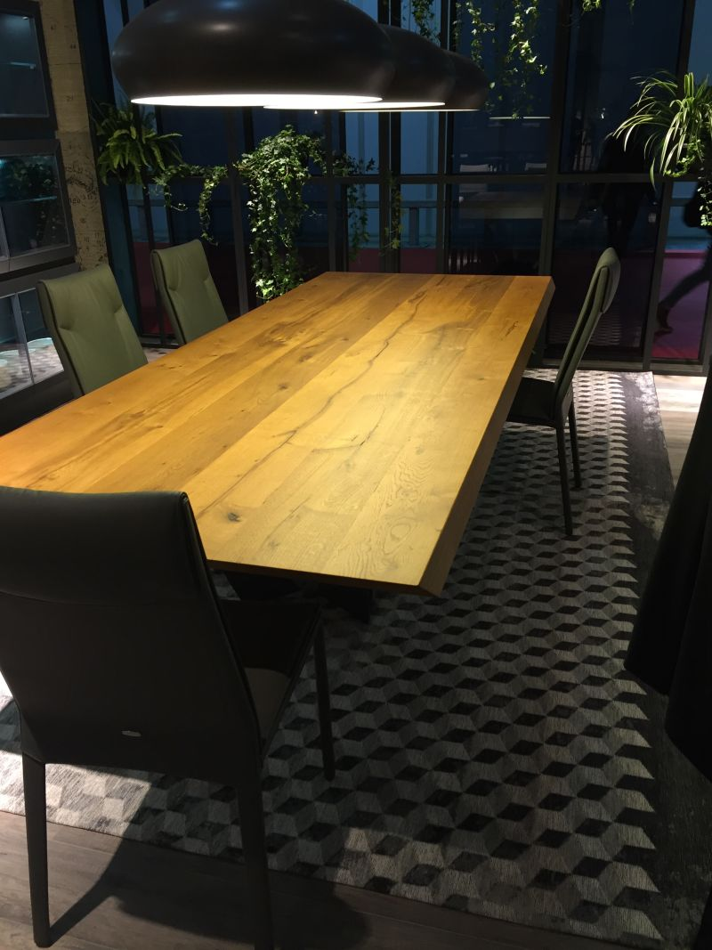 Solid wood top dining table for large families