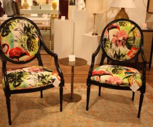 The tropical print eases the formality of the chair's shape.