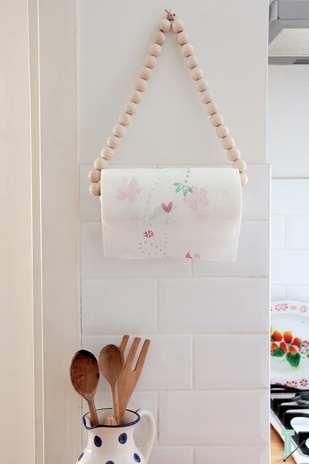 Wooden beads hanging paper towel holder