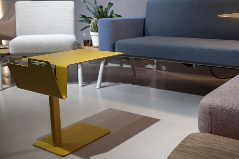 Yellow tray table you can store magazine