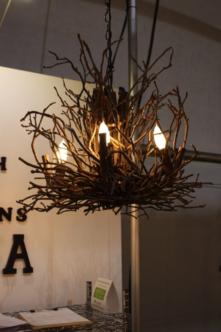 wish designs natural stick chandelier