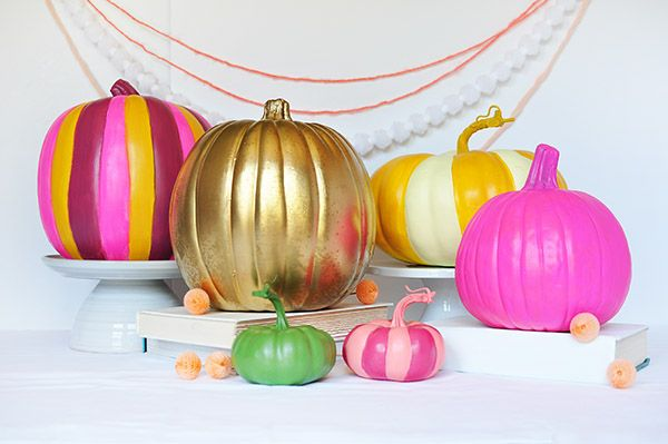 Colorful painted pumpkins craft