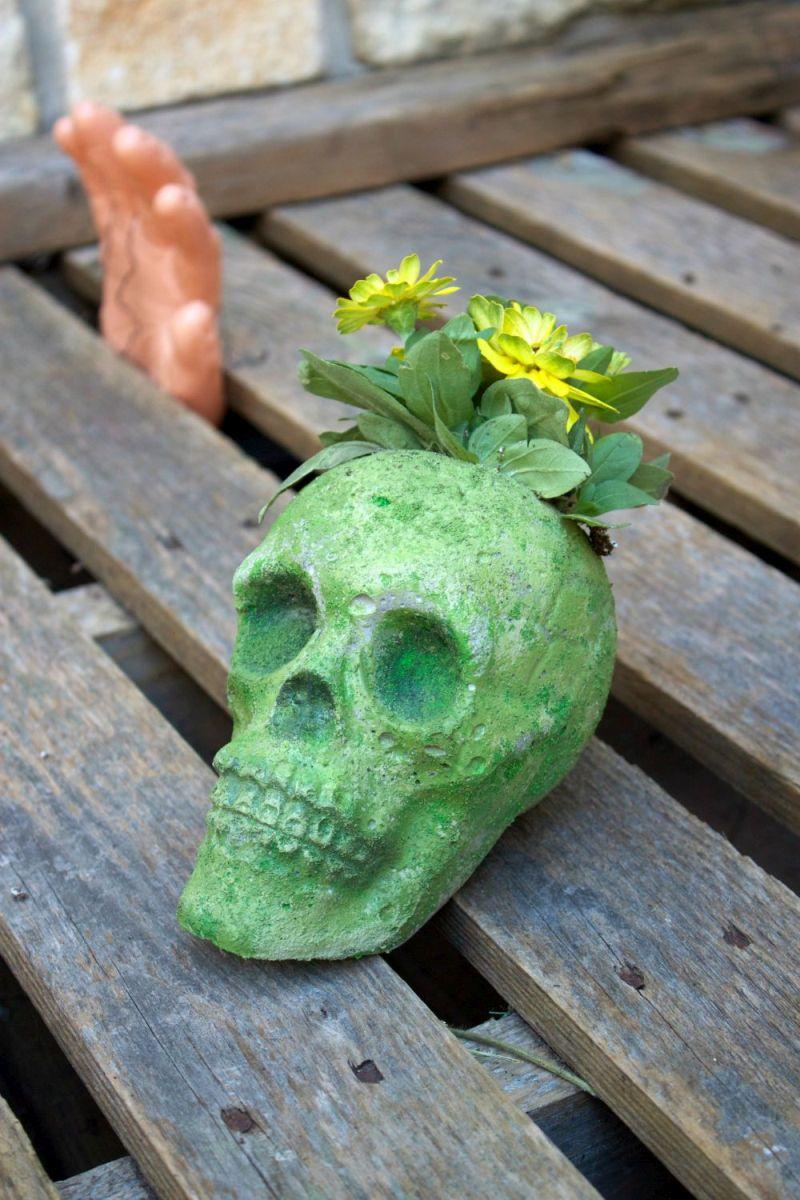 DIY Cement Skull Planter