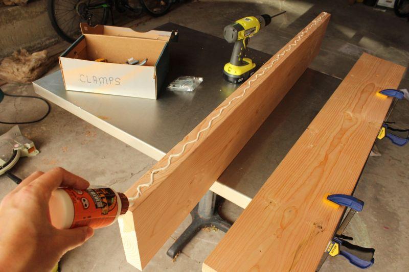DIY Industrial Bench-run a line of glue