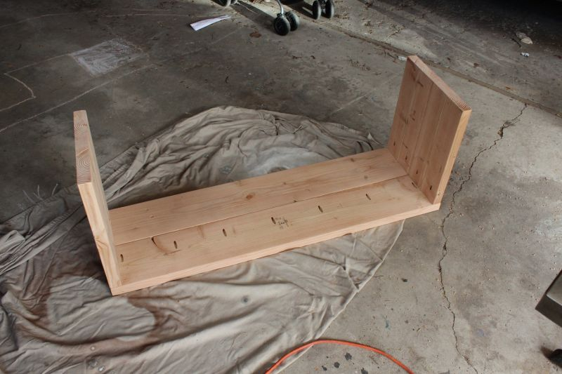 DIY Industrial Bench-secure the legs