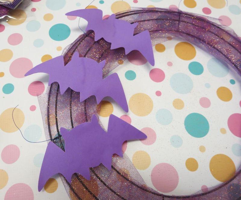 Halloween Front Door Bat Wreath Step 4