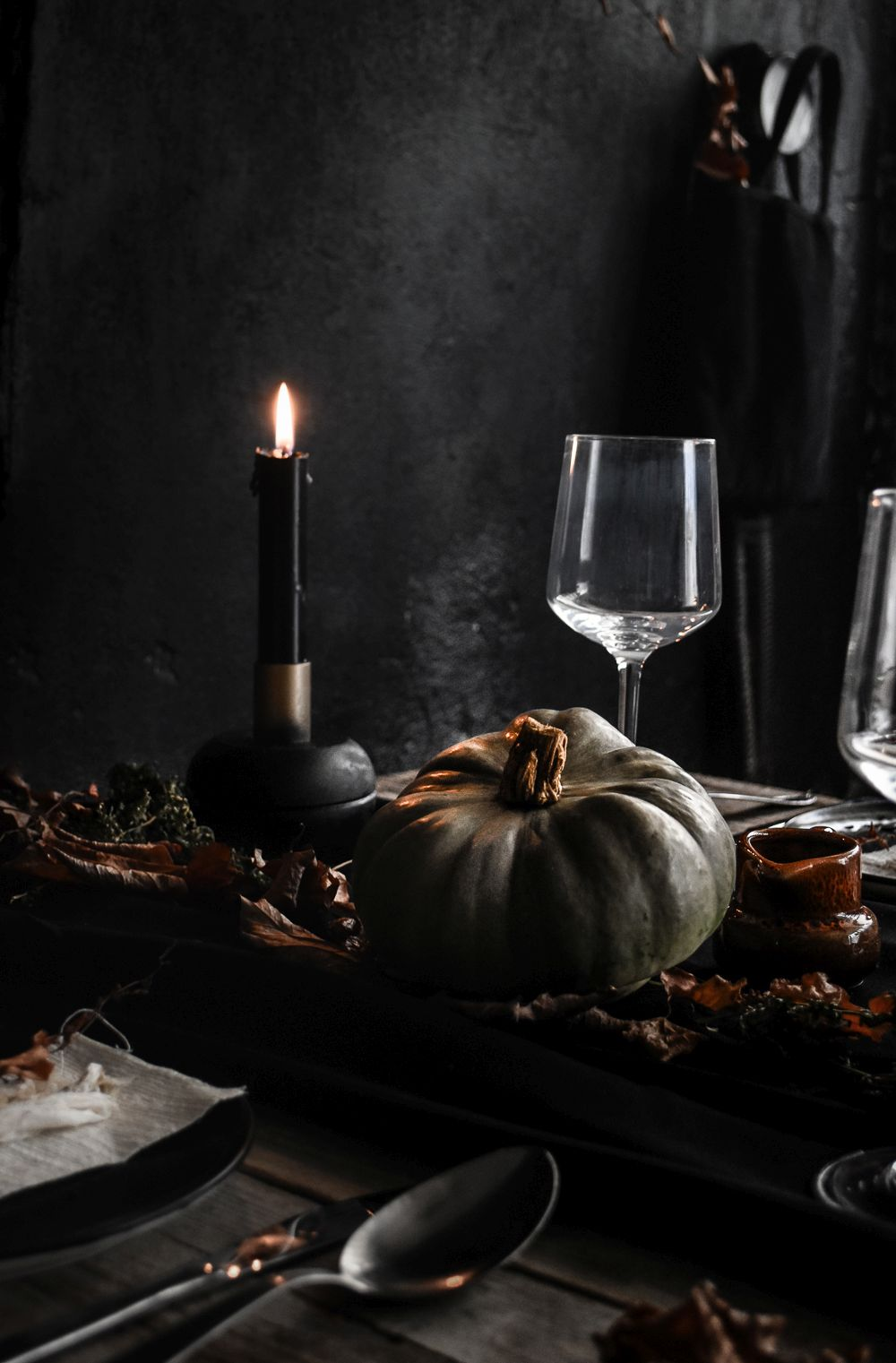 Halloween Table Setting Idea - black candles and pumpkin