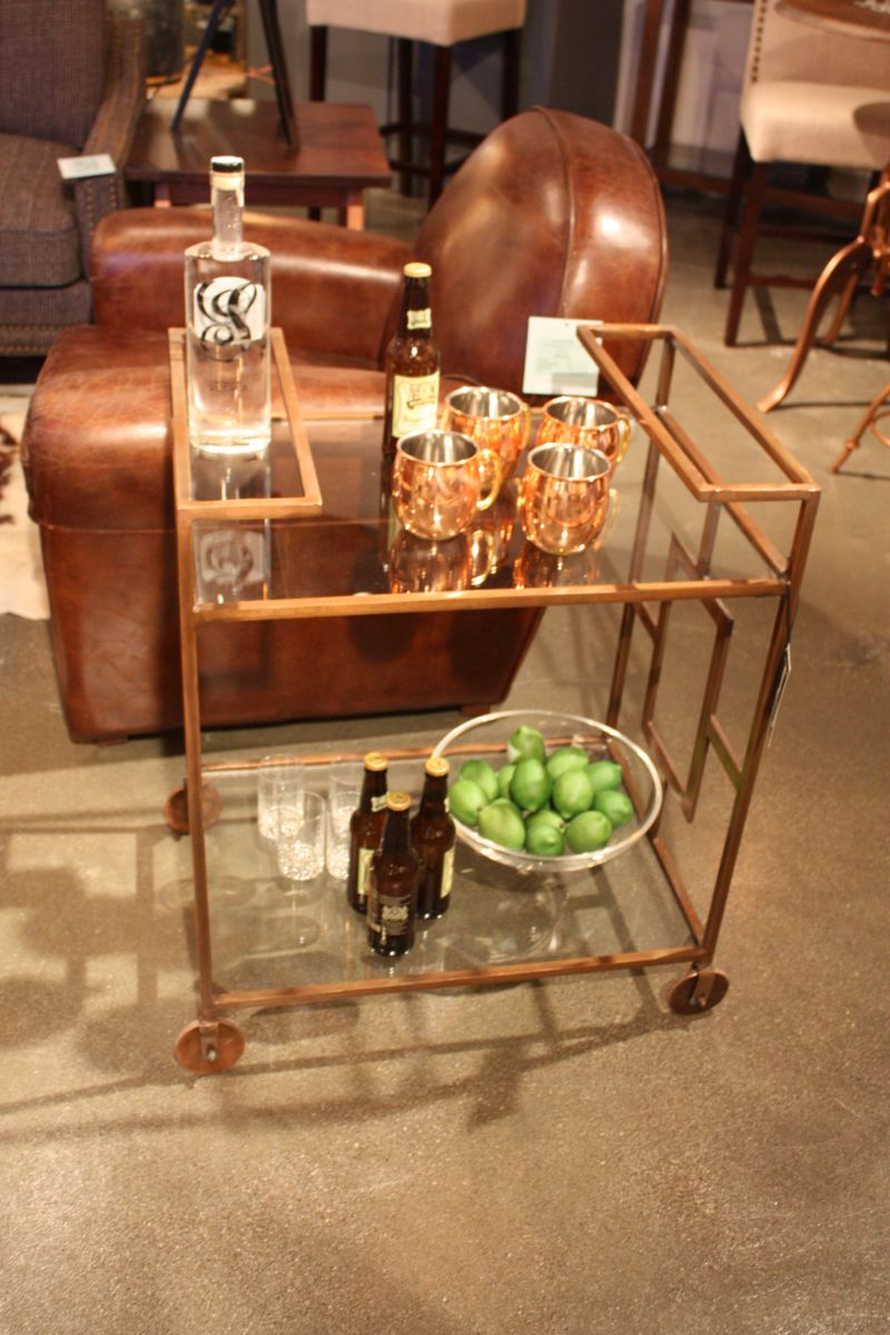 metallic-bar-cart-design-with-a-rugged-patina