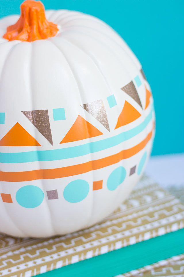 Modern geometric pumpkin paint