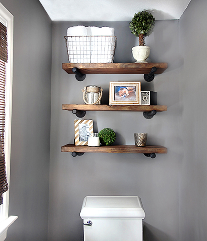 Pipe bathroom shelves