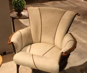 Saddlemans hair on hide upholstered chair
