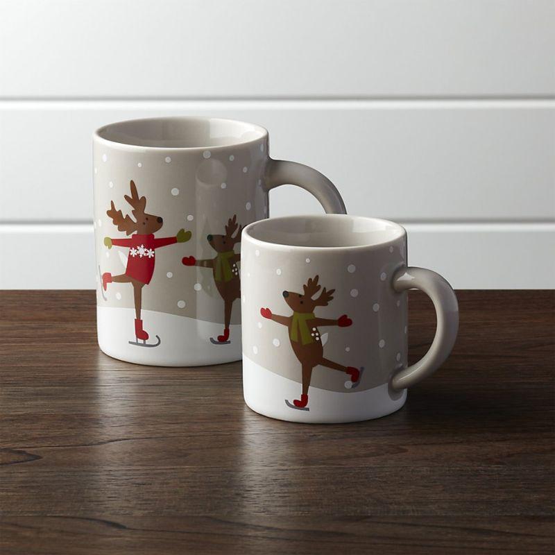 Skating Reindeer Mugs
