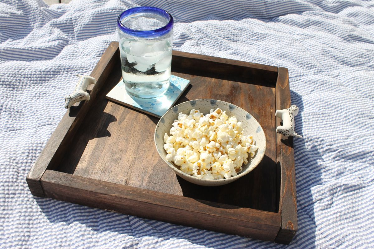 Wooden Tray Using Drawer Knob Handles -Picnic