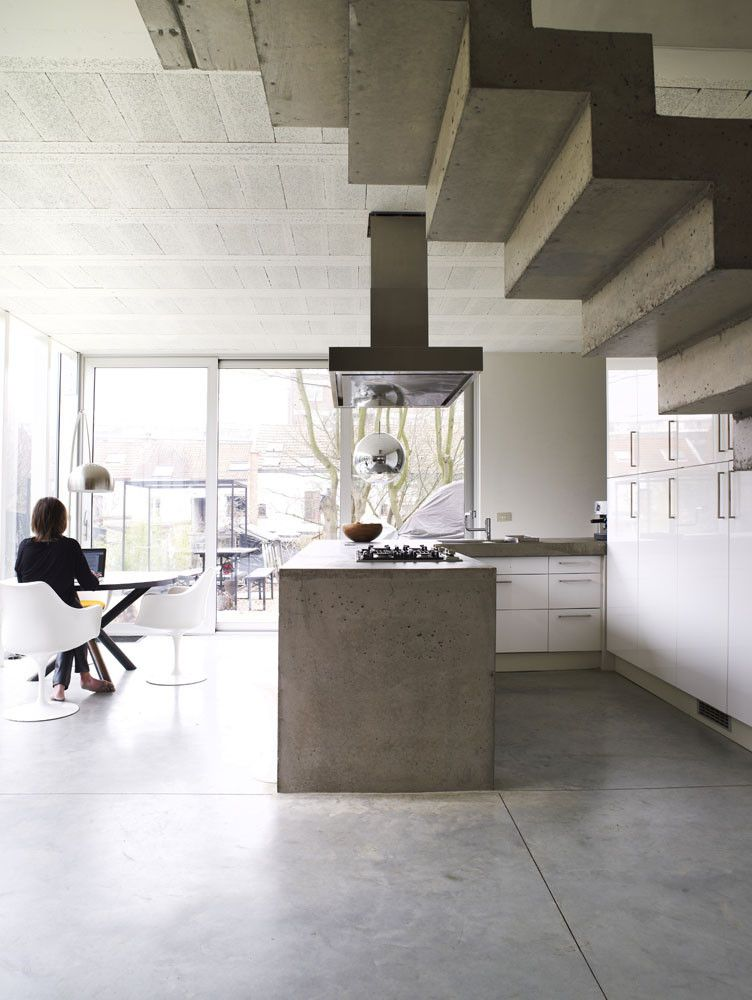 Belgium concrete house kitchen