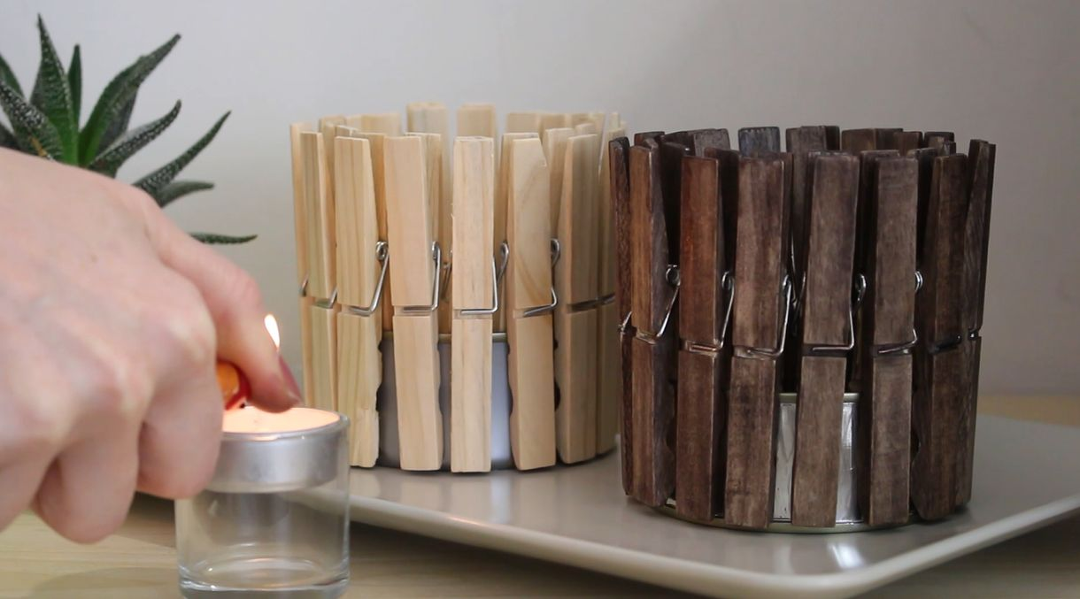 Make A Quick And Cute Clothespin Candle Holder Home Decorating Trends Homedit