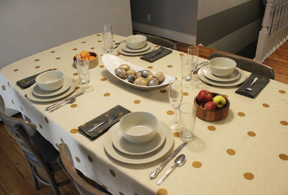 DIY Polka Dot Tablecloth Decor