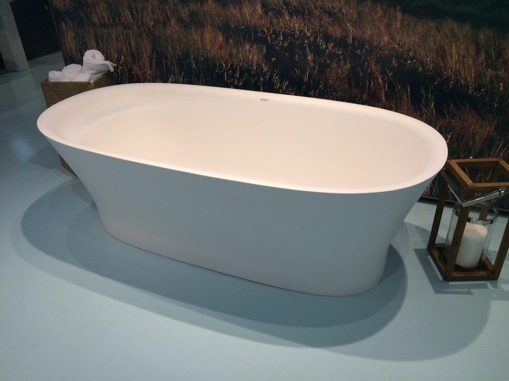 A modern soaking tub can still be useful for the entire family.