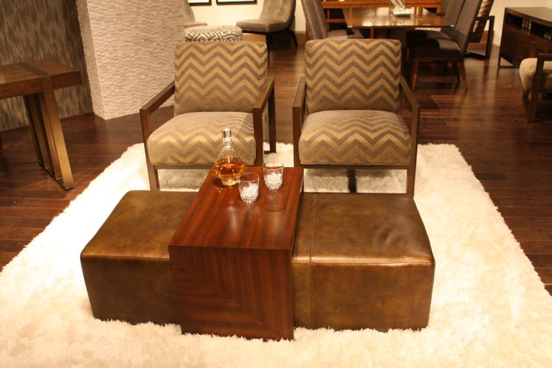 Ottoman from faux leather
