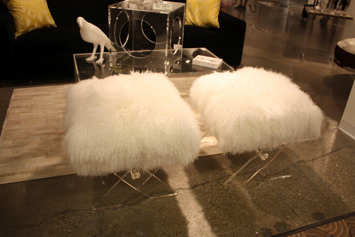 Small acrylic fur stools