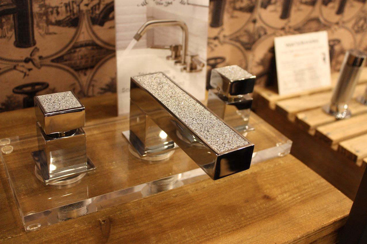 Watermark offers faucets that add a touch of understated bling to the bathroom.