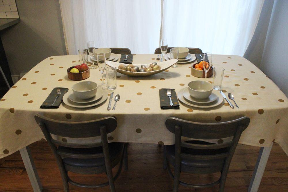cream linen + gold polka dot tablecloth