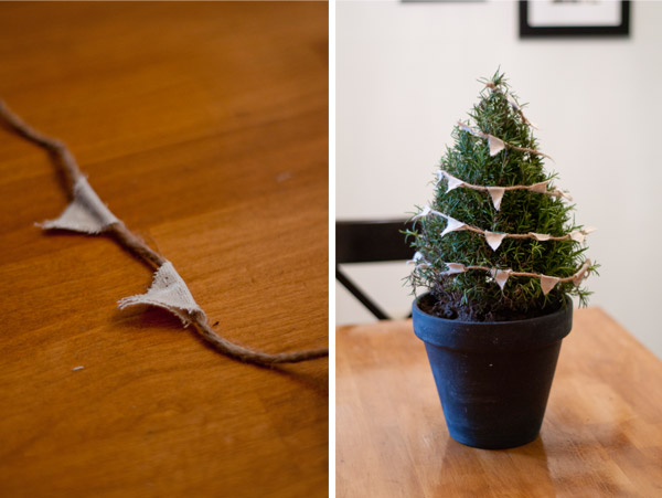 Bunting Christmas Tree in Pot