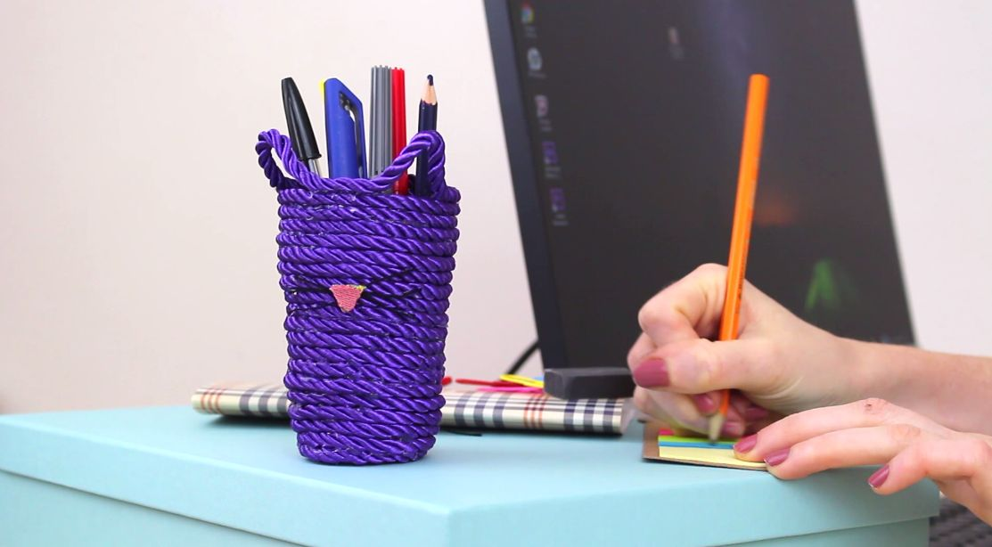 Make A Custom Kitty Rope Pencil Holder Home Decorating